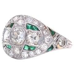 Art Deco Diamond Emerald Platinum Bombe Ring