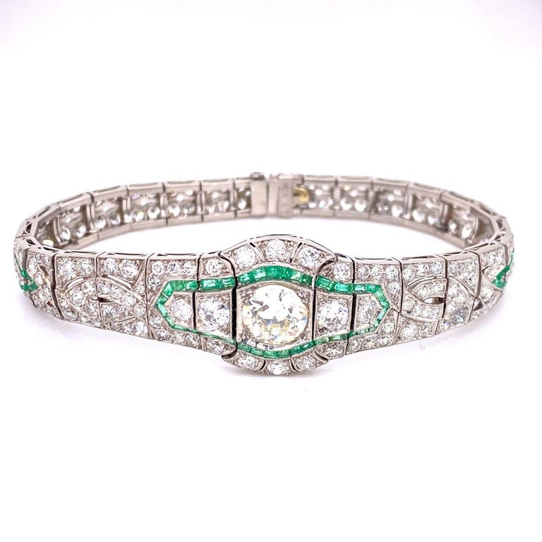 Old European Cut Art Deco Diamond Emerald Platinum Bracelet
