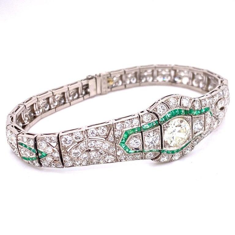 Art Deco Diamond Emerald Platinum Bracelet In Excellent Condition In Boca Raton, FL