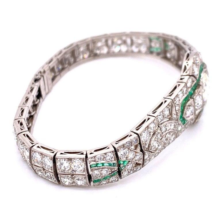 Women's Art Deco Diamond Emerald Platinum Bracelet