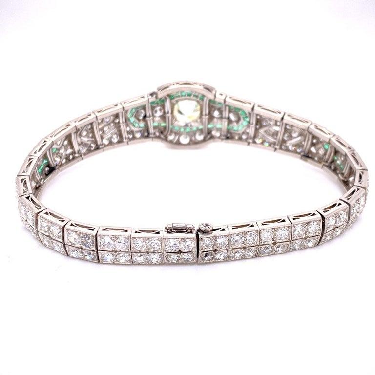 Art Deco Diamond Emerald Platinum Bracelet 1