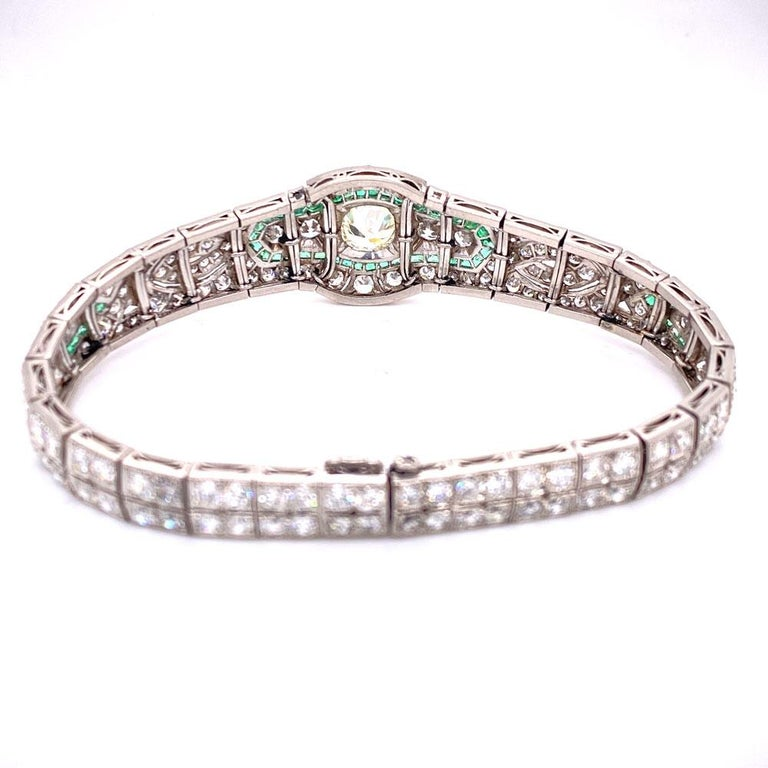 Art Deco Diamond Emerald Platinum Bracelet 2