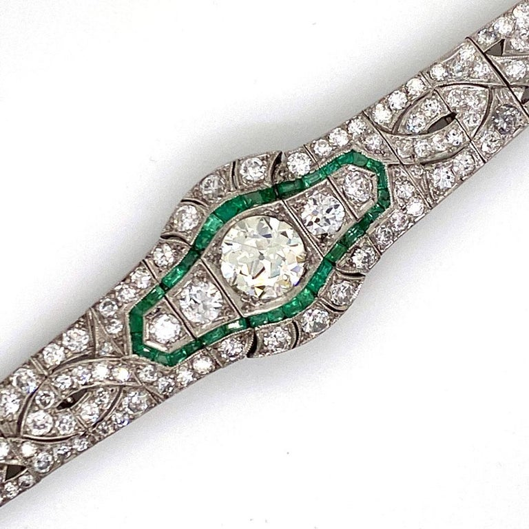 Art Deco Diamond Emerald Platinum Bracelet 3