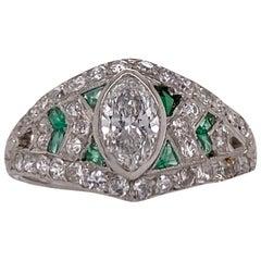 Art Deco Diamond Emerald Platinum Estate Ring