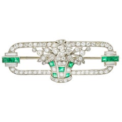 Art Deco Diamond Emerald Platinum Giardinetto Floral Bouquet Bar Brooch