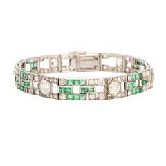 Art Deco Diamond & Emerald Platinum Panel Bracelet