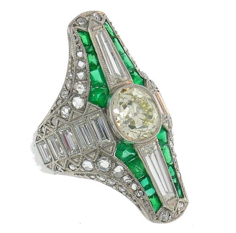 Mixed Cut Art Deco Diamond Emerald Platinum Ring For Sale
