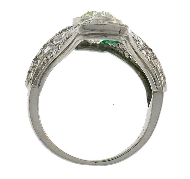 Art Deco Diamond Emerald Platinum Ring For Sale 1