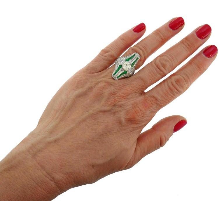 Art Deco Diamond Emerald Platinum Ring For Sale 2