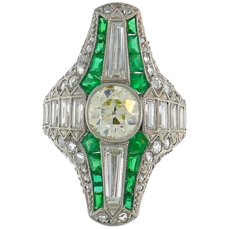 Art Deco Diamond Emerald Platinum Ring For Sale
