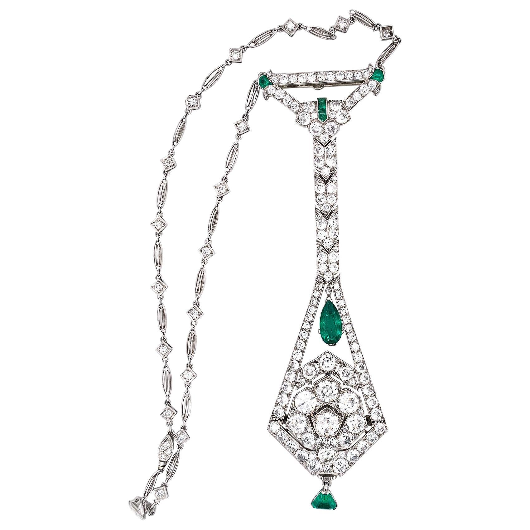 Art Deco Diamond Emerald Platinum Watch Pendant Necklace