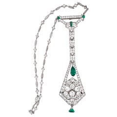 Art Deco Diamond Emerald Platinum Watch Pendant Necklace