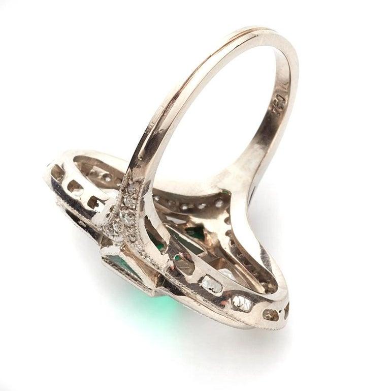Half Moon Cut Art Deco Diamond Emerald Ring, ca. 1900s For Sale