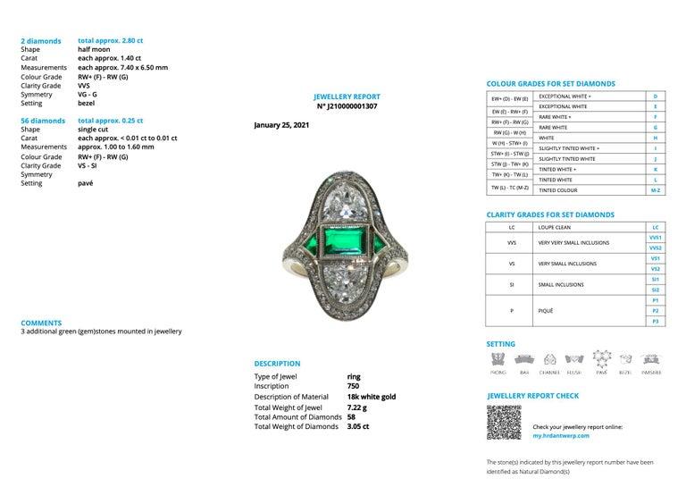 Art Deco Diamond Emerald Ring, ca. 1900s For Sale 2