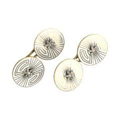 Art Deco Diamond, Enamel and Gold Cufflinks