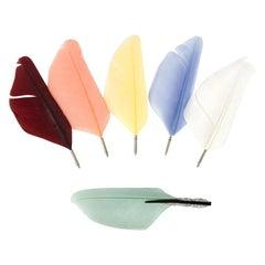 Art Deco Diamond Enamel Interchangeable Feather Brooch, Retailed by Boucheron