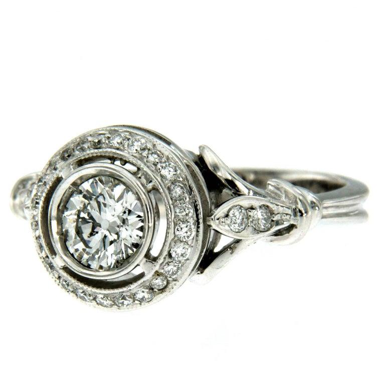 Art Deco Diamond Engagement Gold Ring