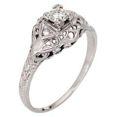 Art Deco Diamond Engagement Ring 18k White Gold Vintage Fine Jewelry