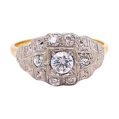 Art Deco Diamond Engagement Ring, Mixed Metal Old European Diamonds Wedding Band