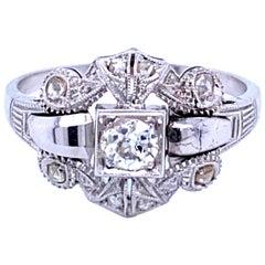 Art Deco Diamond Engraved Ring
