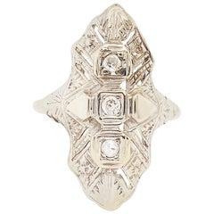 Art Deco Diamond Estate Ring 14 Karat Gold Three-Stone Dinner Ring, circa 1930