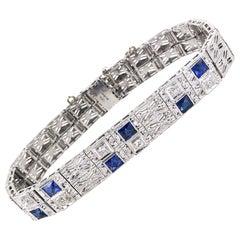 Art Deco Diamond Filigree 18 Karat White Gold Platinum Link Bracelet