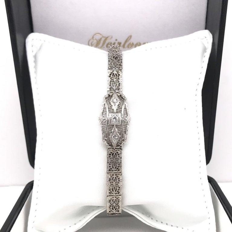 Women's Art Deco Diamond Filigree Bracelet 14K White Gold For Sale