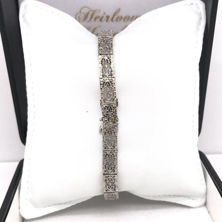 Art Deco Diamond Filigree Bracelet 14K White Gold For Sale 1