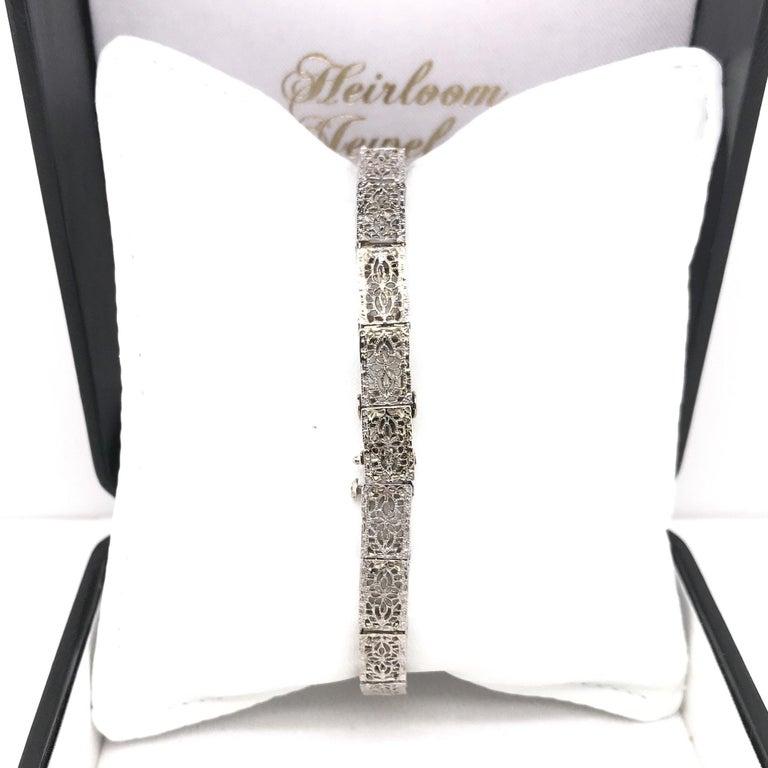 Art Deco Diamond Filigree Bracelet 14K White Gold For Sale 2