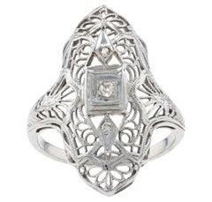 Art Deco Diamond Filigree Ring, 18k White Gold Millgrain Open Cut Vintage