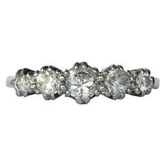 Art Deco Diamond Five-Stone and 18 Carat Gold Ring