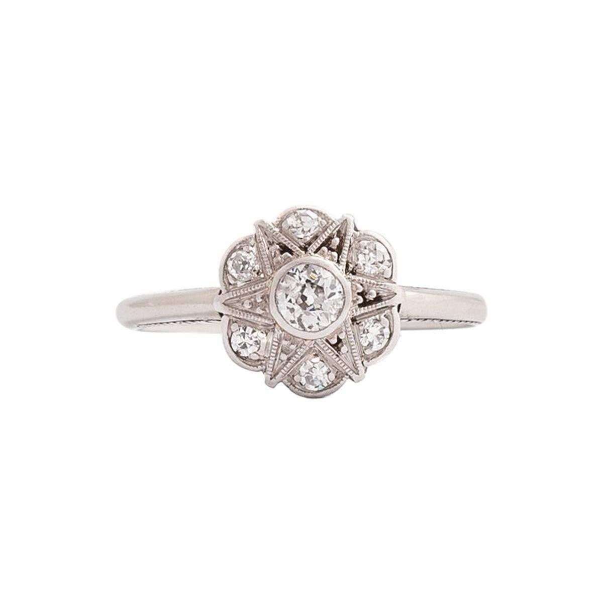 Art Deco Diamond Flower Ring