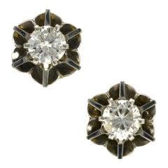 Art Deco Diamond Flower Stud Earrings 1 Carat Tw Floral Vintage Buttercup Estate
