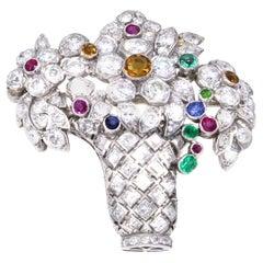 Art Deco Diamond Gem Set Platinum Jardinière Brooch