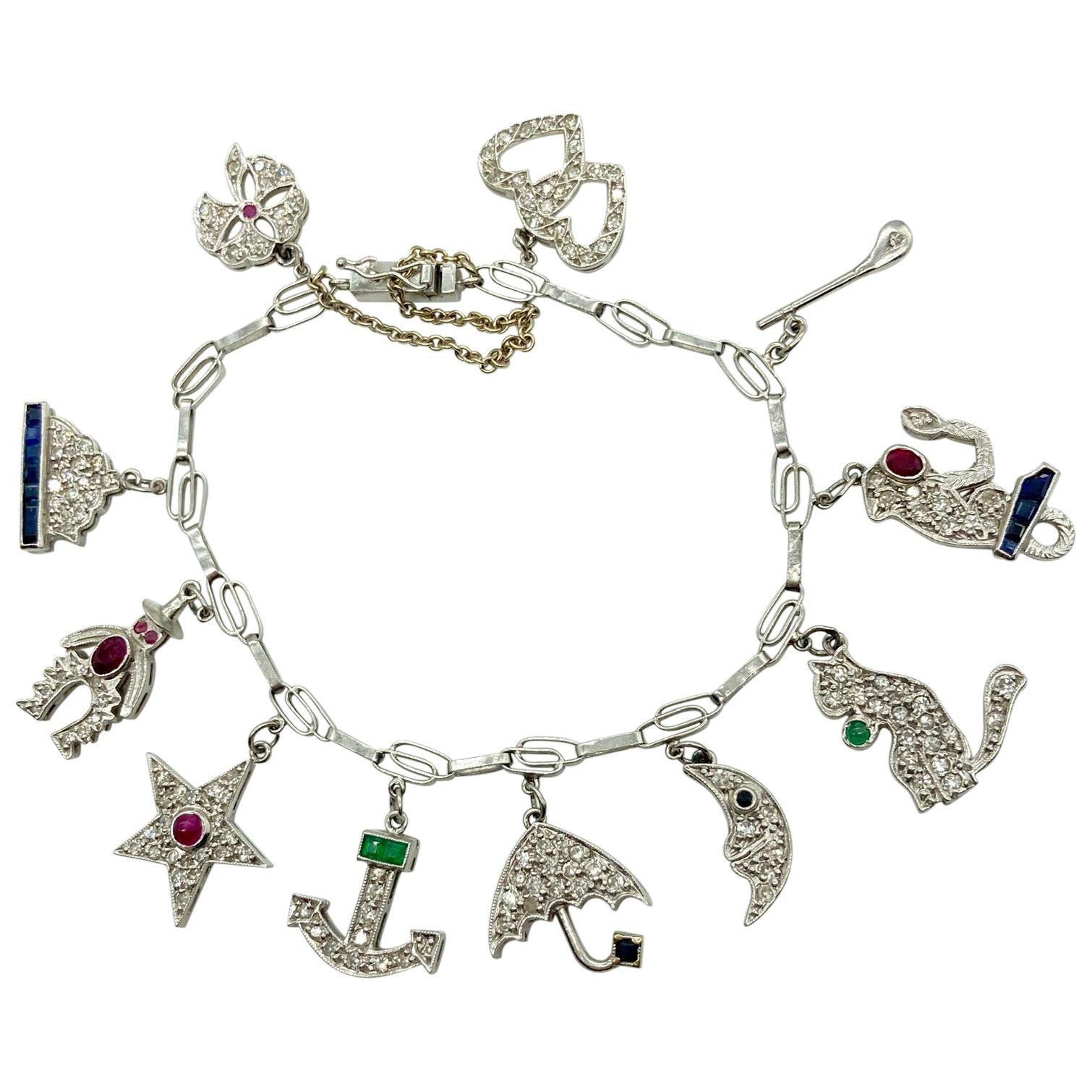 Art Deco Diamond and Gemstone White Gold Charm Bracelet