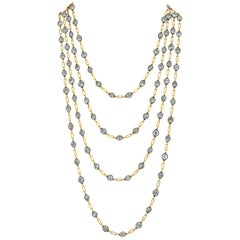 Art Deco Diamond Gold Sautoir Wrap Necklace