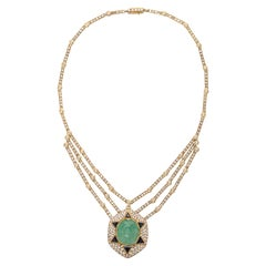 Diamond Gold Carved Emerald & Blue Sapphire Esclavage Collier Necklace