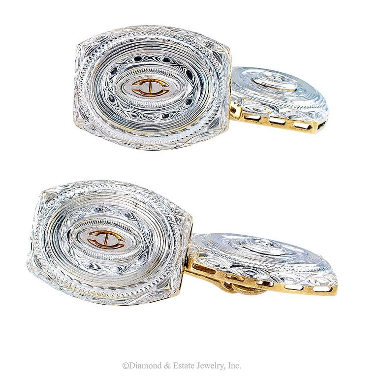 Art Deco Diamond Gold Cufflinks In Good Condition For Sale In Los Angeles, CA