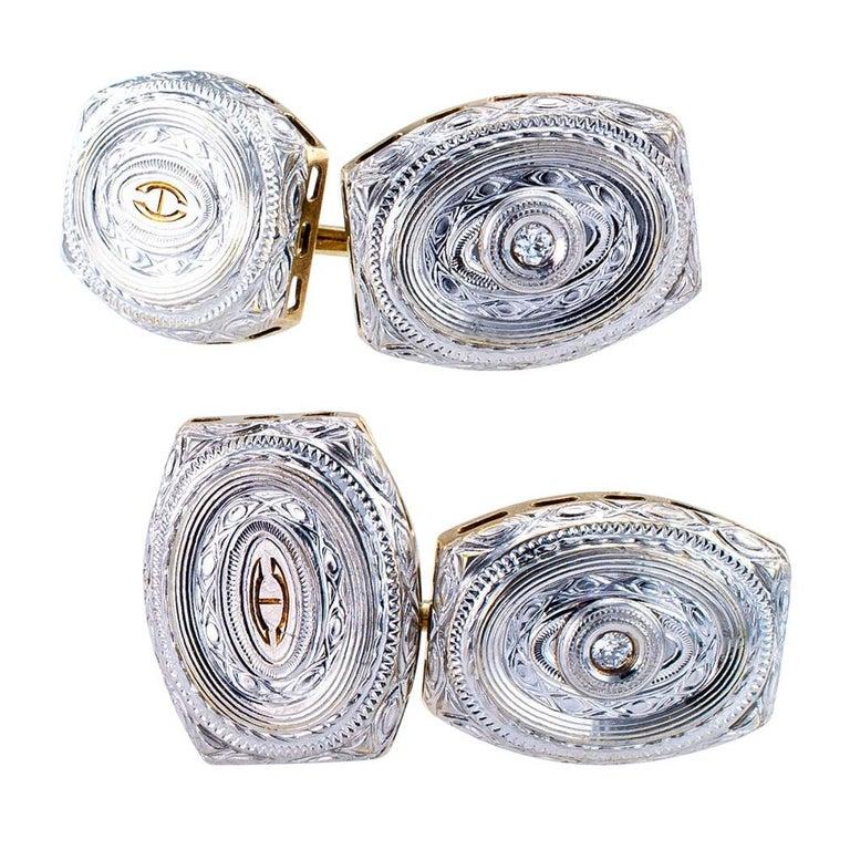 Men's Art Deco Diamond Gold Cufflinks For Sale