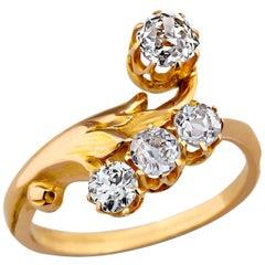 Art Deco Diamond Gold Floral Ring