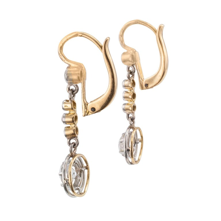 Art Deco Diamond Gold Platinum Drop Earrings In Good Condition In Los Angeles, CA