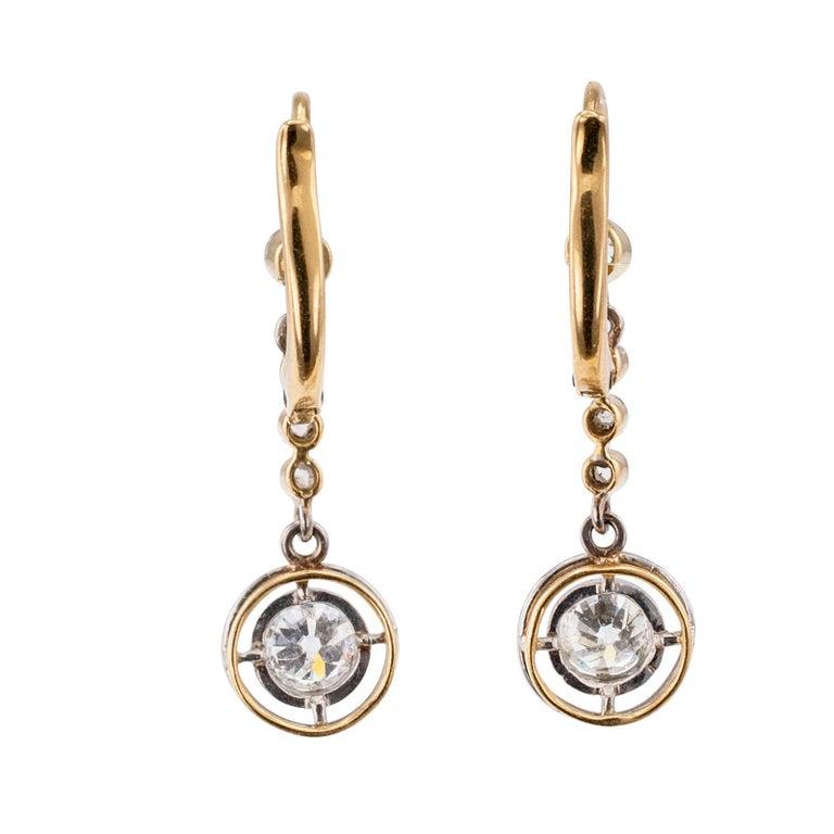 Women's Art Deco Diamond Gold Platinum Drop Earrings