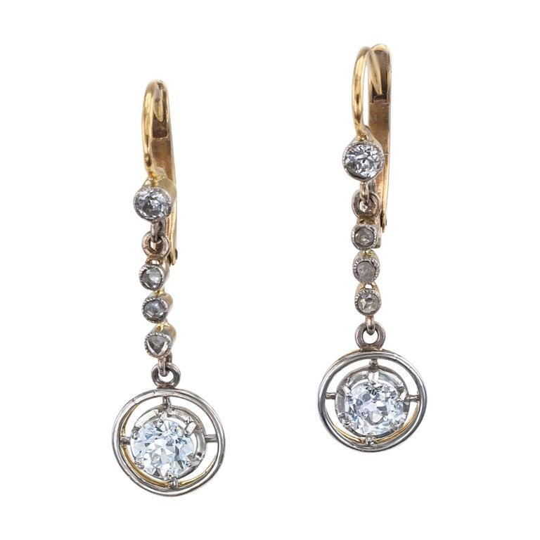Art Deco Diamond Gold Platinum Drop Earrings