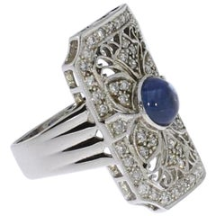 Art Deco Style Diamond Gold Ring with Sapphire Cabochon