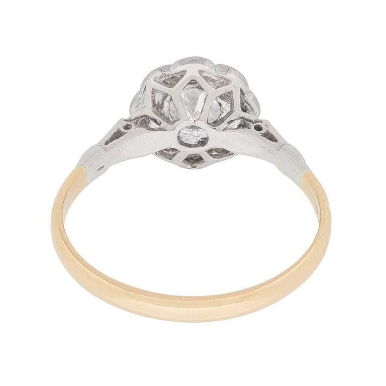 Women's or Men's Art Deco Diamond Halo Ring, circa 1920s For Sale