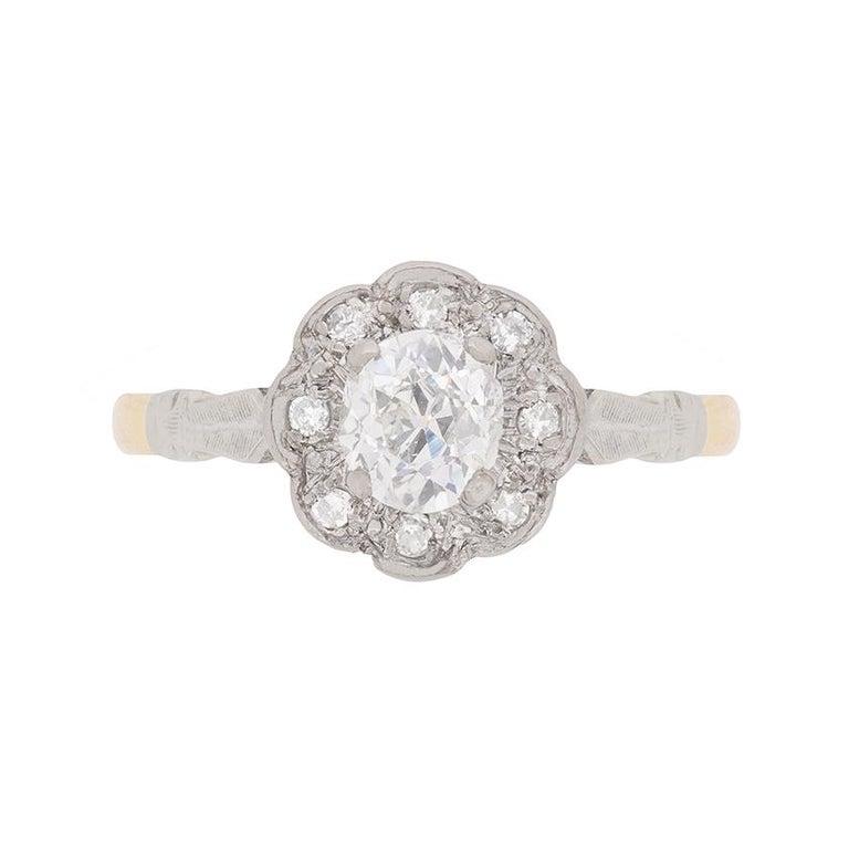 Art Deco Diamond Halo Ring, circa 1920s For Sale