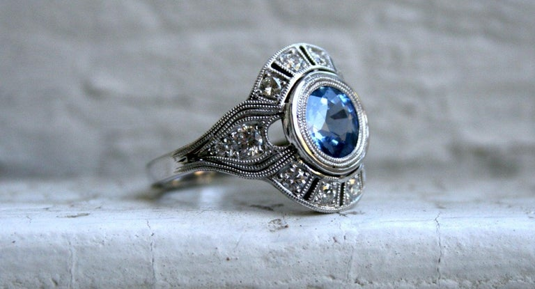 Art Deco Style Diamond Halo Sapphire Ring Wedding Ring in 14 Karat White Gold In New Condition For Sale In San Francisco, CA