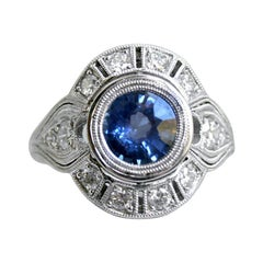 Art Deco Style Diamond Halo Sapphire Ring Wedding Ring in 14 Karat White Gold
