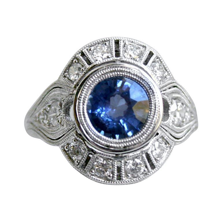 Art Deco Style Diamond Halo Sapphire Ring Wedding Ring in 14 Karat White Gold For Sale