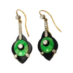 Art Deco Diamond Jade and Onyx Drop Earrings